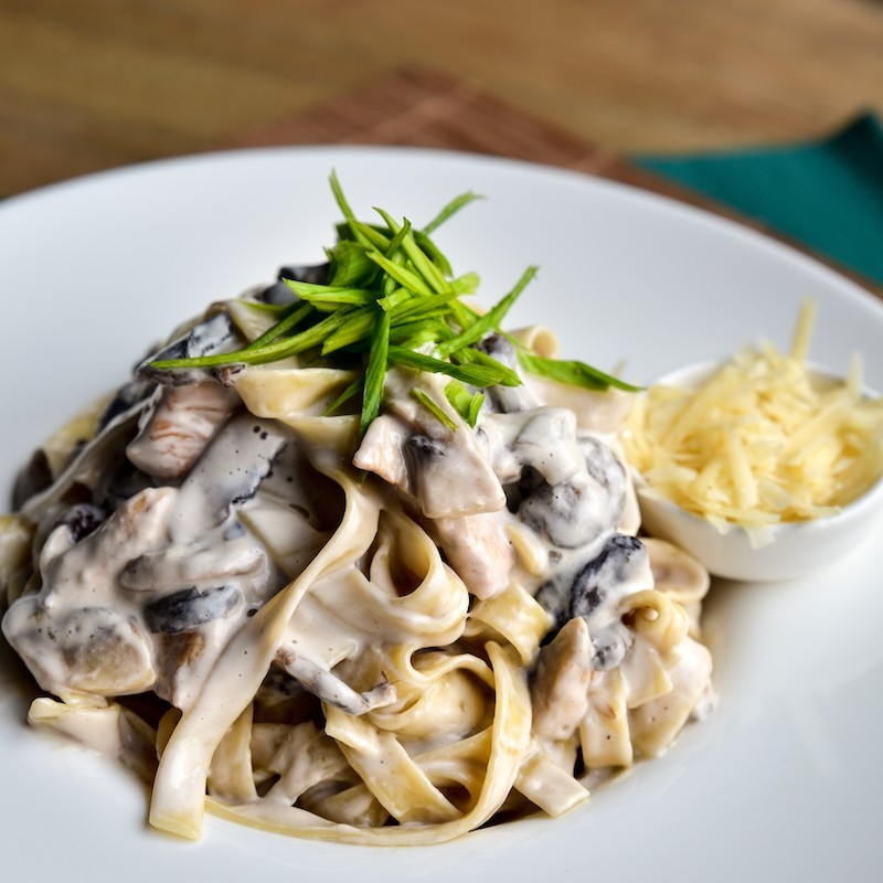 Chicken and mushrooms pasta...