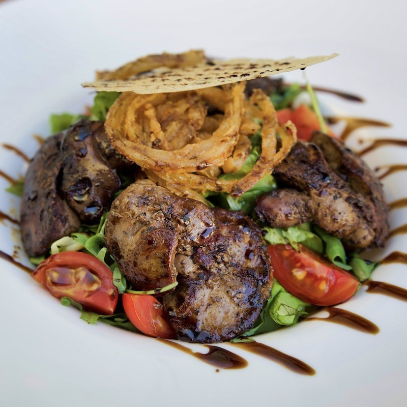 Chicken livers with salad...